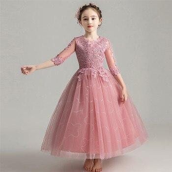 Infant Kids Girl Birthday Wedding Party Princess Lae Dress Girl Children Fashion Tutu Piano Pageant Host Prom Dress Clothing