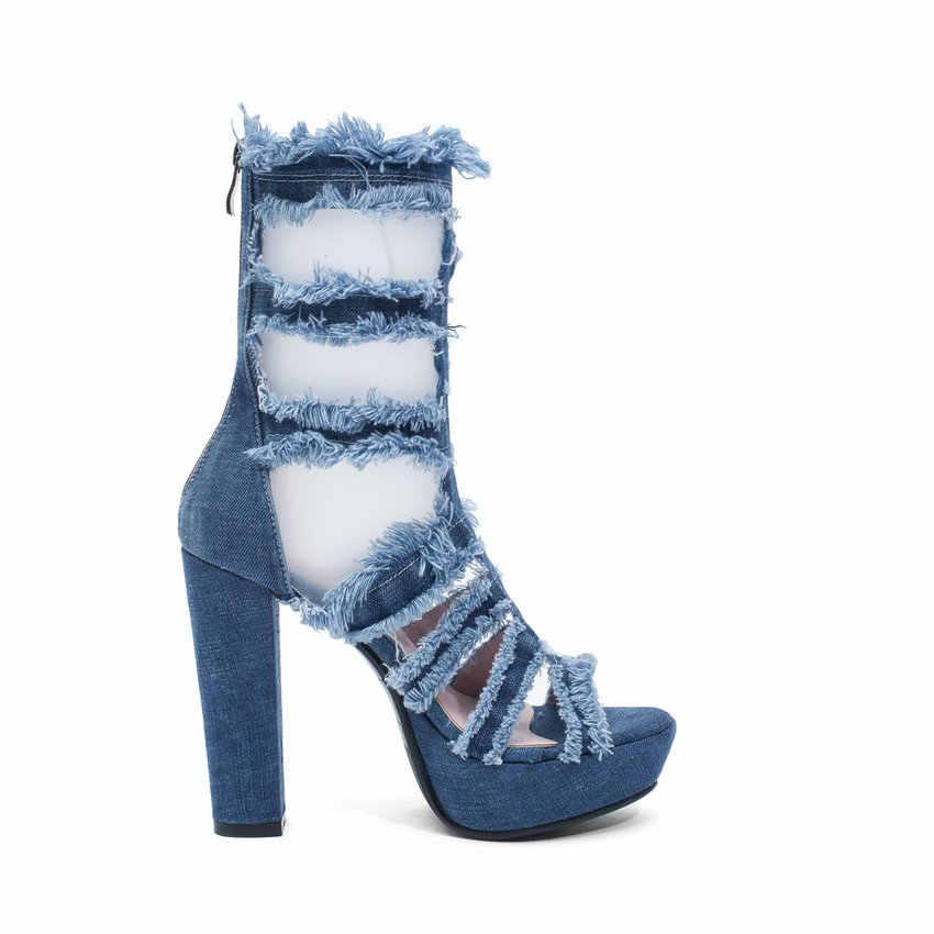 QUTAA 2019 Kadın Sandalet Kare Süper Yüksek Topuk Peep Toe Gladyatör Denim Kesim Çıkışları Fermuar Uzun Tüp Serin Botlar Yenilik boyutu 34-39