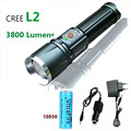 X9 Rechargeable led tactical flashlights torch CREE XM-L2 3800 lumens 5mode zoomable linternas led  Flashlight with 18650
