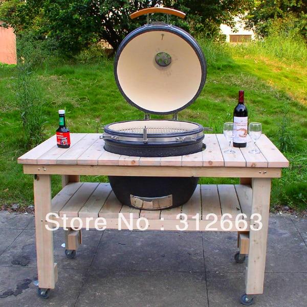 """21"""" keramische ronde Kamado bbq met houten tafelstandaard"""
