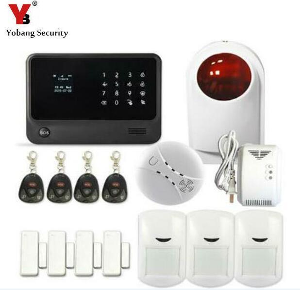 YoBang Security 2017 Wireless WIFI GSM House Alarm System Wireless Outdoor Alarm PIR Motion Detector Smoke Fire Alarm Sensor.
