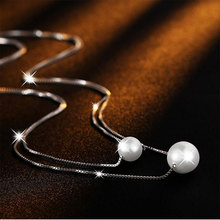 лучшая цена New Fashion 925 Sterling Silver Necklace Double Layer Chain Simulated Pearl Choker Necklaces & Pendants For Women kolye