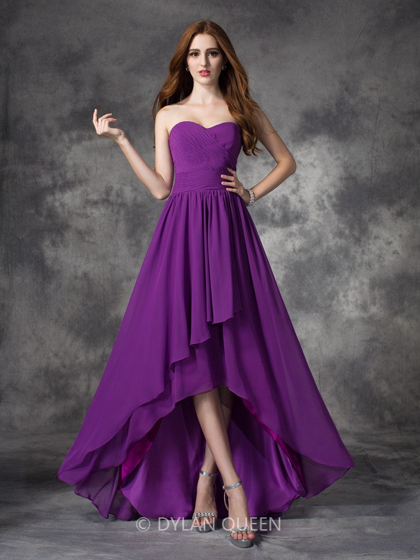 Cecelle 2016 Purple Ruched Chiffon High Low Beach Bridesmaid Dresses ...