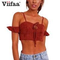 Viifaa Women Faux Suede Summer Crop Top Orange Red Lace Up Bralette 2017 Short Sleeve Padded