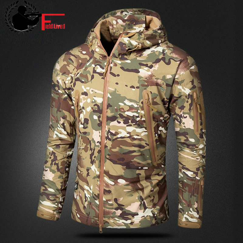 CAMOUFLAGE JACKET MEN 2017 Army Military Style Tactical Soft Shell Warm Fleece Waterproof Coat Male CAMO Shark Skin Outdoors