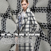 High-quality black and white lattice weave wool fabric autumn and winter clothing wool fabrics wholesale wool cloth