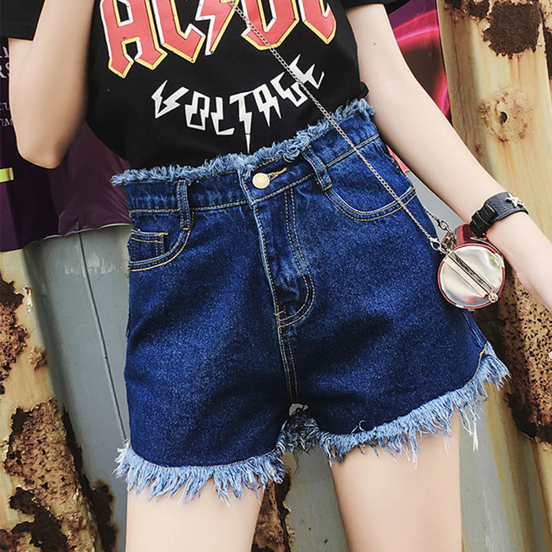 2018 European and American BF summer wind female blue high waist denim   shorts   women worn loose burr hole jeans   shorts