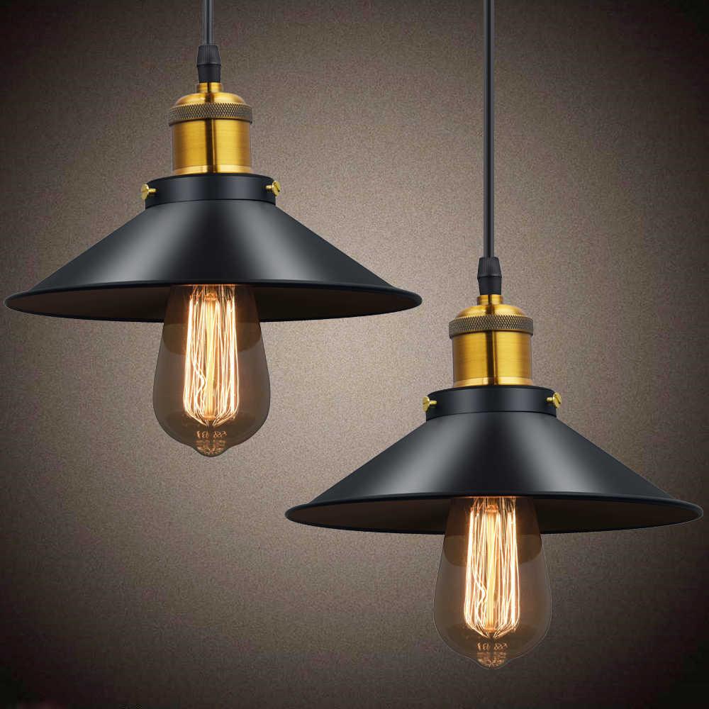 Винтажный промышленный подвесной светильник, ретро потолочный светильник, черный железный абажур, скандинавский E27, лампа эдисона для столовой, спальни, ресторана