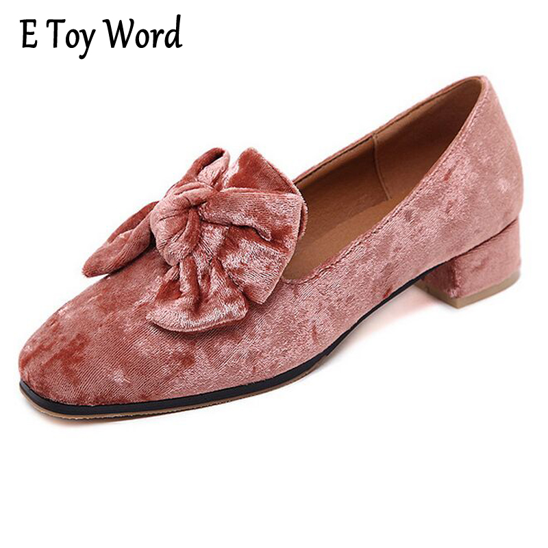 E TOY WORD Bowtie Brogue Shoes Woman 2017 New Oxfords Velvet Slip On High Heels Casual Platform Women Shoes Size 35-40 XWD5186 e toy word canvas shoes women han edition 2017 spring cowboy increased thick soles casual shoes female side zip jeans blue 35 40