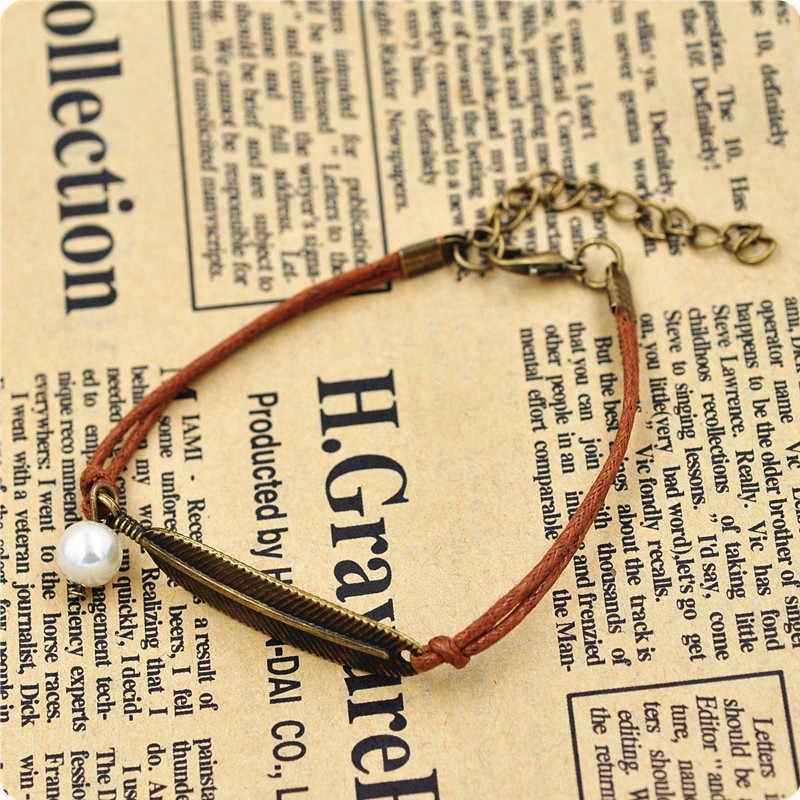Простая винтажная кожаная цепочка, имитация жемчуга, подвеска с перьями, браслеты для женщин, ручная работа, лист, ювелирные изделия, pulseiras, аксессуары