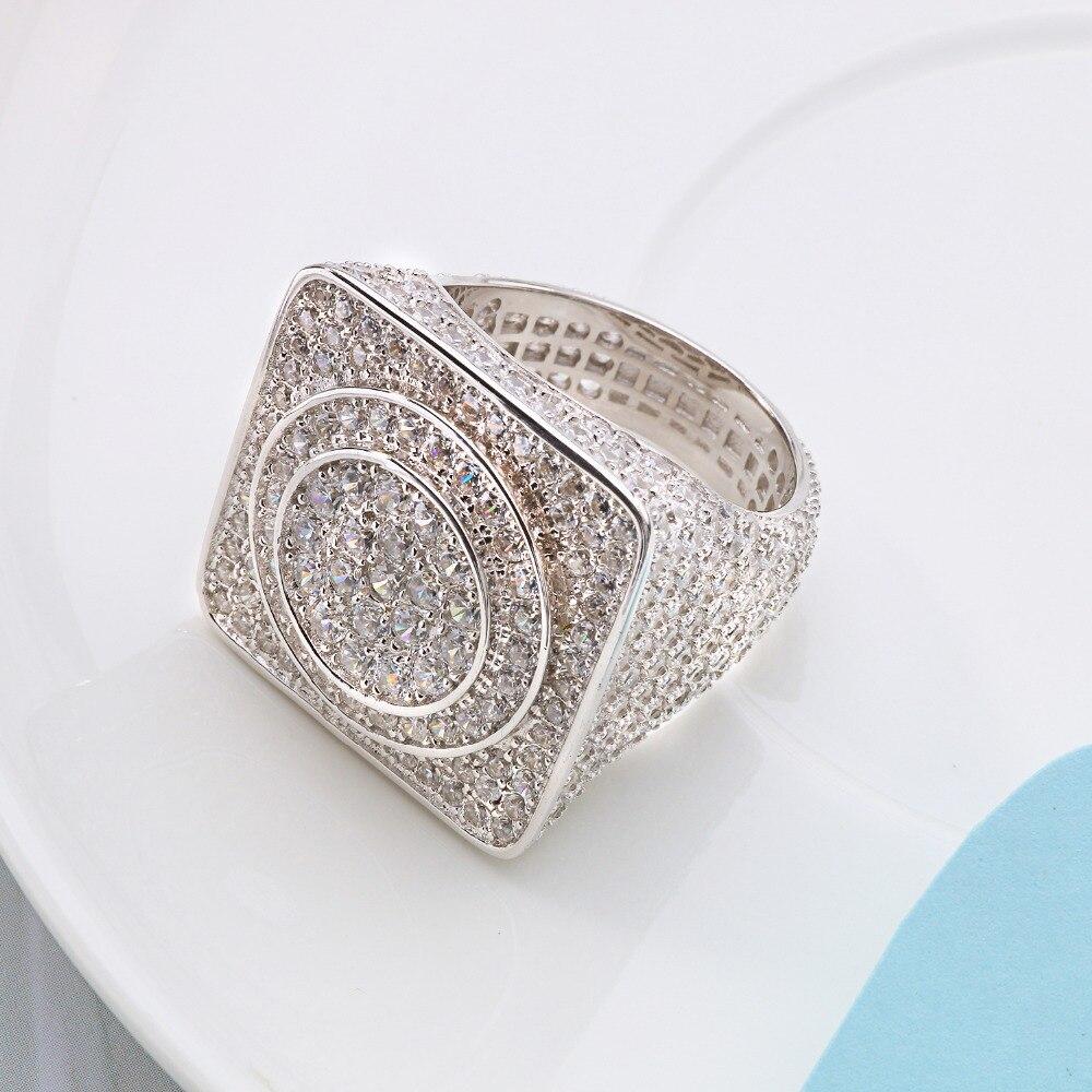 VANAXIN 925 bagues en argent Sterling pour hommes bijoux glacé cristal CZ Anel Masculino Joias fiançailles bagues de mariage Bague Homme - 4