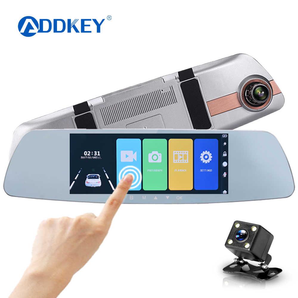 ADDKEY Car DVR Full HD 1080P 7.0 Inch IPS Touch Screen Recorder Dual Lens with Rear View Mirror Auto Registrator Dash Camera dvr