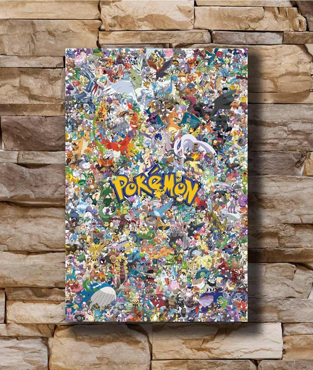 N0019 Pokemon Classic Japan Anime Alle Monsters Collage 8x12 20x30 24x36 Silk Poster Art l-W Canvas Print Decoratie