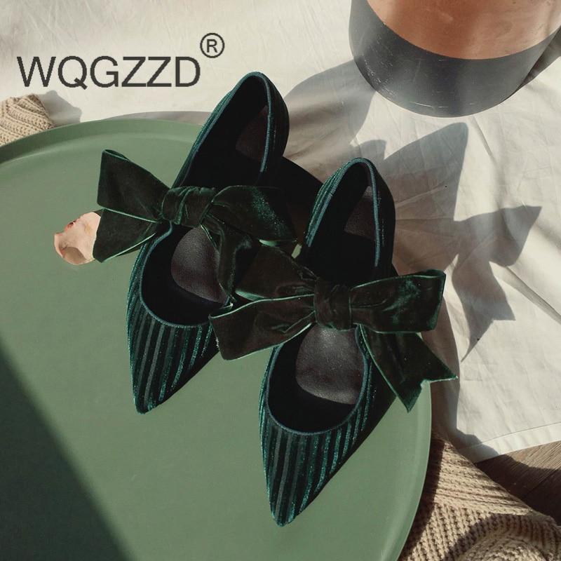 noeud Chaussures Pour Cuir Simple Et Escarpins Papillon De Véritable Green En dark Soirée Black Élégant Nouvelle Femmes Marque Pompes Femme wZC8IXq