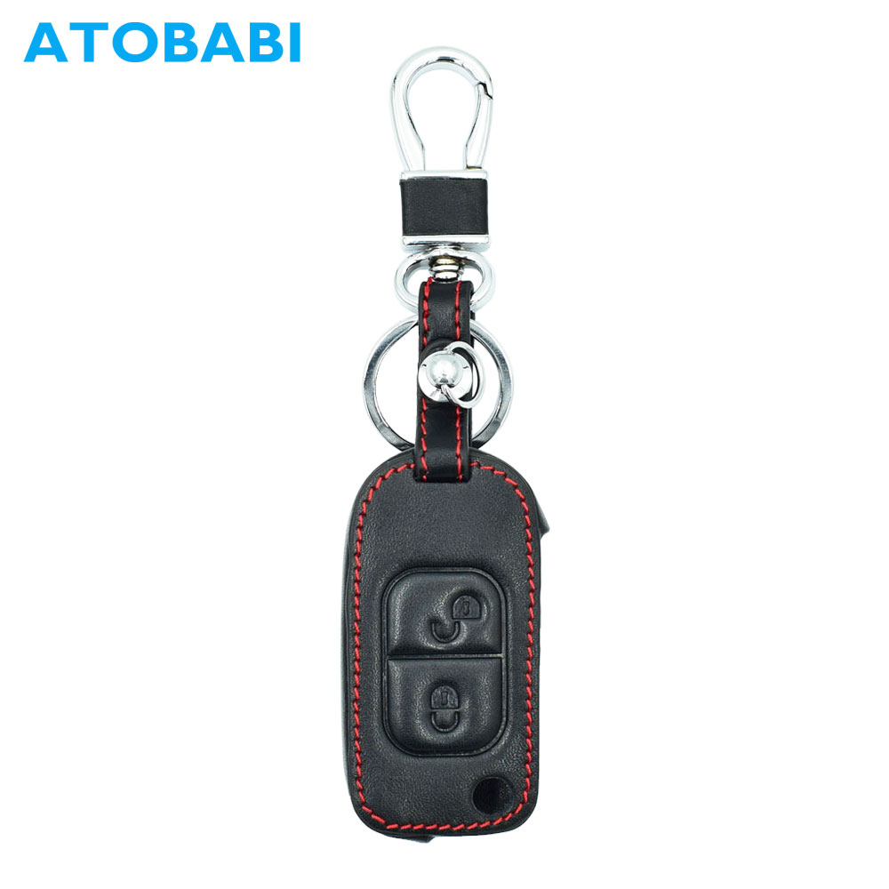 ATOBABI Leather Car Flip Key Cases Fob Cover For Mercedes Benz E113 A C E S W168 W202 W203 2 Buttons Folding Key with Key Ring