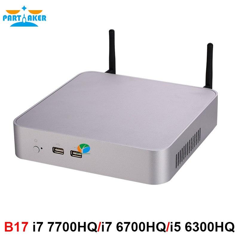 Teilhaftig Intel Core i7 7700HQ i7 6700HQ i5 6300HQ Mini PC Windows 10 Barebone Computer DDR4 32GB RAM 512GB SSD 4K HTPC HDMI DP