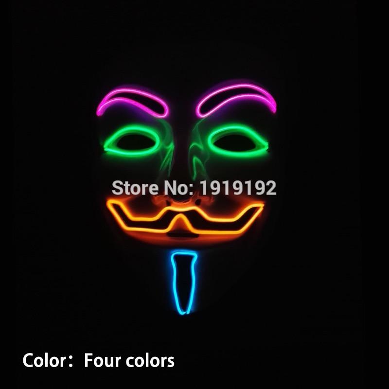 Vroče prodajne zabavne maske EL žica 4-barve Anonymous Guy Fawkes - Prazniki in zabave - Fotografija 5