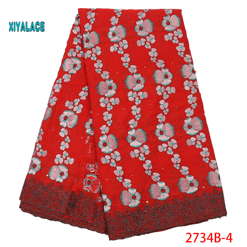 Wine Red 2019 Nigerian African Lace Fabrics Swiss Lace High Quality French Stones Voile Lace Switzerland For Wedding YA2734B-4