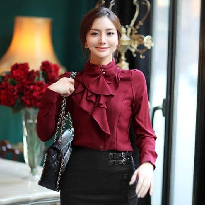cb07e9d03b6 New Women Victorian Ruffle Collar Shirt Puff Sleeve Silky Luxurious High Neck  Blouse Tops-in Blouses   Shirts from Women s Clothing on Aliexpress.com ...