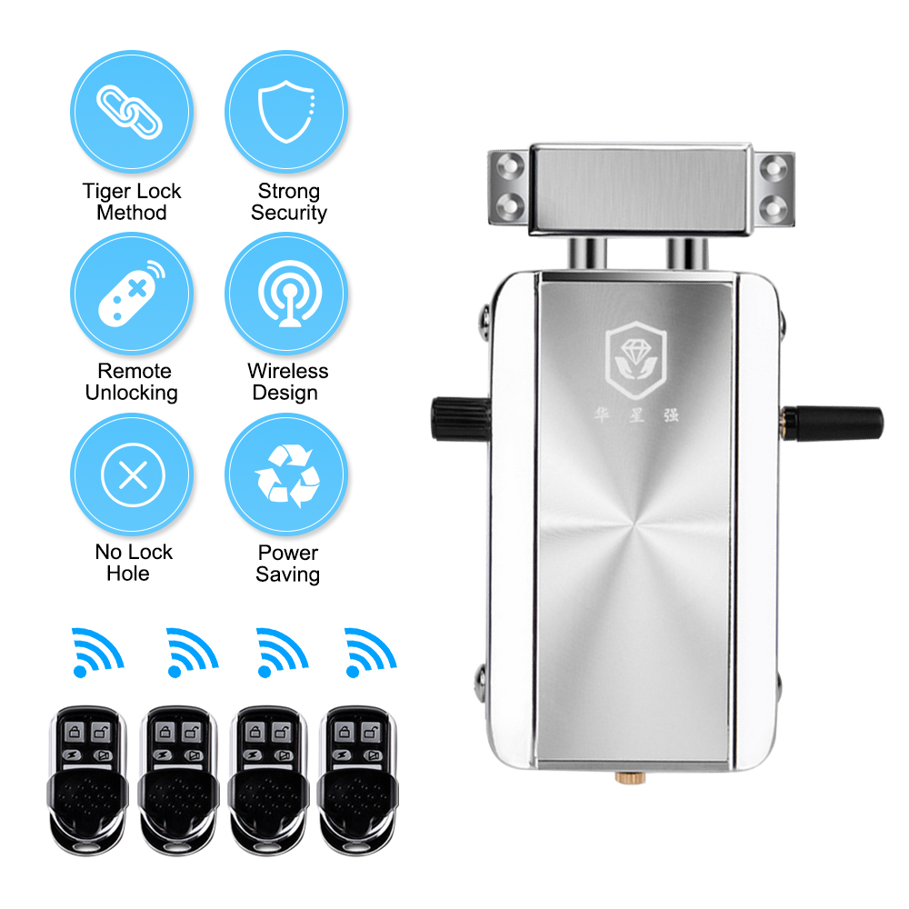 Home Door Lock Kit Remote Control Keyless Entry Electronic Lock Smart Wireless Anti theft Deadbolt Access