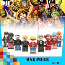 One Piece Anime Figures Luffy Robin Roronoa Zoro Franky Trafalgar Law Sabo Nami Brook Building Blocks Gift Toys цена