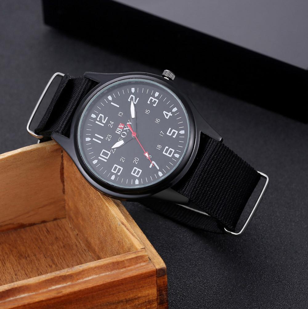 แฟชั่นไนล่อนนาฬิกาผู้ชายยี่ห้อใหม่SOXYกีฬาของผู้ชายควอตซ์ข้อมือทหารบางนาฬิกาอนาล็อกผู้ชา... 9