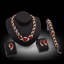 Cindiry Necklace Ring Bracelet Earrings Jewelry Sets For Women Bridal Red Crystal Wedding Dress Accessories Set