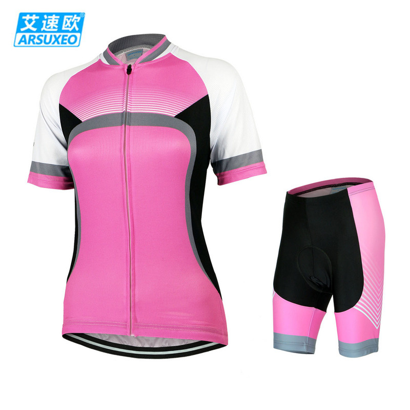 ФОТО ARSUXEO Outdoor Bike Bicycle Cycling Cycle Clothing Sportswear Suit Women Short Sleeve Jersey + 3D Coolmax Padded Shorts Set