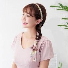 100% Hand Made Flower Pattern Headbands Pearl Twist Chiffon Bow Turban Dual Purpose Vertical Cross Hair Accessory Adjustable