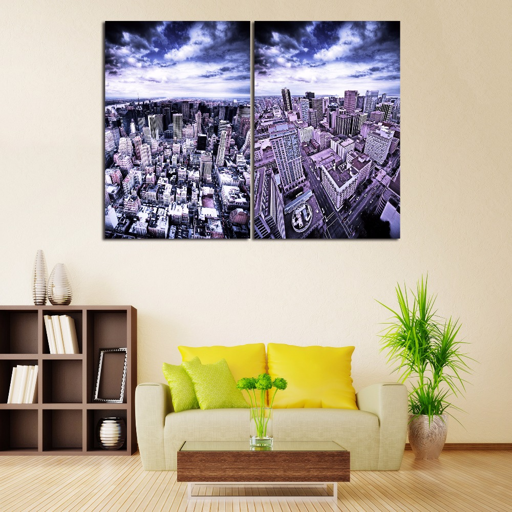 Modern US Buildings Scenery Canvas Prints New York Skyscrapers Landscape Poster Modern Home Living Room Background Decor