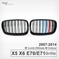 Original M Color Dual Slats Front Bumper Grille Kidney Grill Mesh For BMW X5 E70 2007 2013 X6 E71 2008 2014 ABS 28i 35i