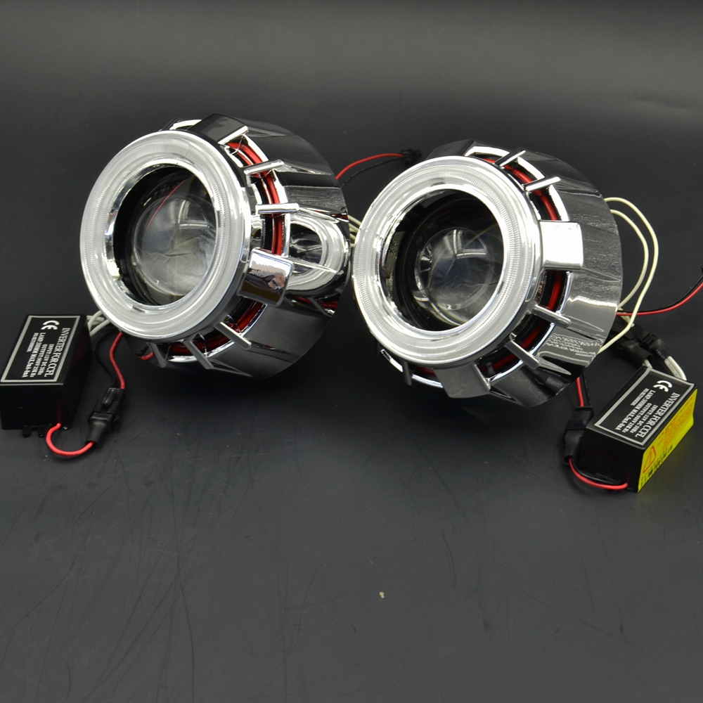 2.5inch bixenon Projector Lens DRL Light Double Angel Eyes Projector Lens H1 H4 H7 Headlight Conversion Kit day running double light lens angel eye projector h4 h7 two ray lens blue green [qp378 bg]