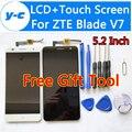 Для ZTE Blade V7 ЖК-Дисплей + Сенсорный Экран + Инструмент Высокого Качества 100% Новый Экран Digitizer Стеклянная Панель Для ZTE Blade V7 5.2 дюймовый