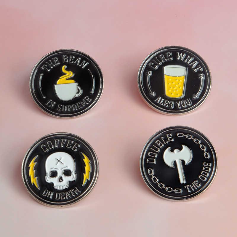 Черная круглая эмалированная брошь пиво кофе топор скелет шпильки джинсовая одежда кнопка для сумки Нагрудный значок на булавке панк темные украшения подарок