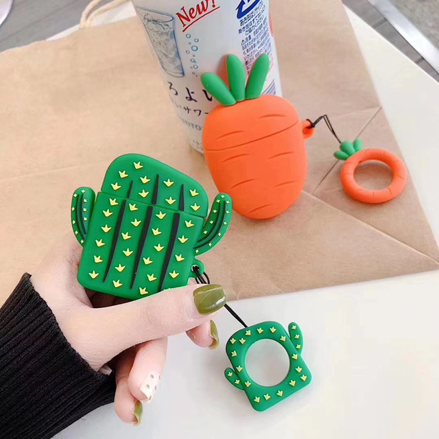 Nette 3D Obst Pflanze Kaktus Karotte Silikon Ring Lanyard Kopfhörer Kopfhörer Fall Für Apple Airpods 1 2 Zubehör abdeckung Tasche