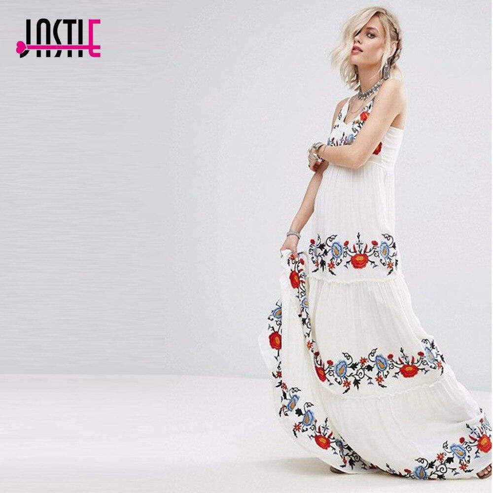 Jastie robe blanche Floral brodé Maxi robe élégante robe de soirée Boho décontracté plage longues robes d'été femmes robes - 2