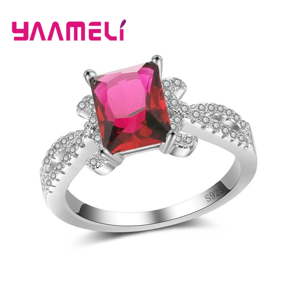 YAAMELI Original Square Shape Design Colorful Crystal Cubic Zirconia 925 Sterling Silver Finger Rings For Women Ladies Jewelry
