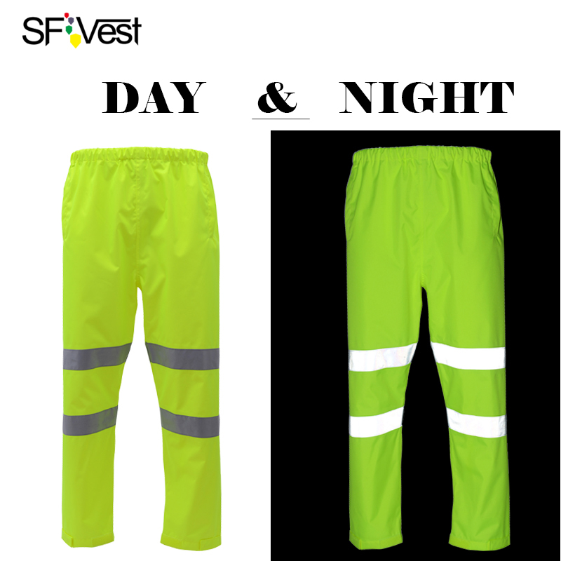 SFvest Men's hi vis yellow winter warm waterproof trousers with reflective stripes rain gear for men free shipping все цены