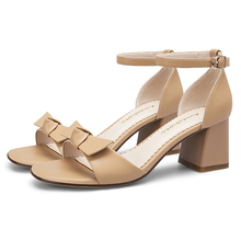 2019 Summer Beige Nude Women Sandals 6CM Thick Chunky High Heels Femme Shoes 11813AKX2269 форма для выпечки gipfel 1880 oxford 24х7см