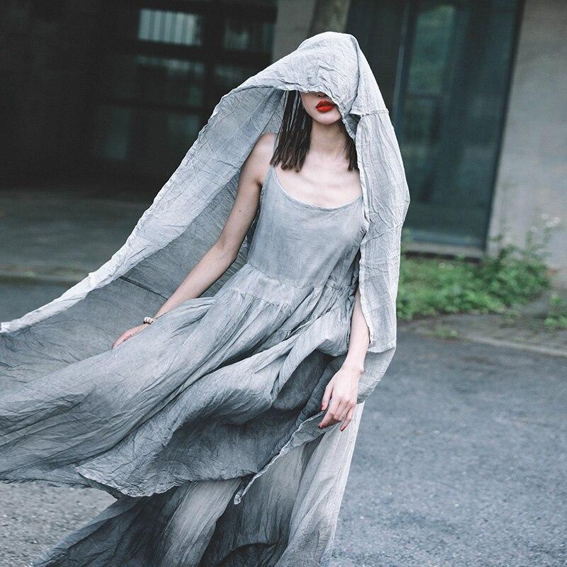 Kadın Giyim'ten Elbiseler'de Cakucool 2019 bahar ve yaz pamuk askı elbise düzensiz büyük salıncak etek edebi kıvrımlar çok peri elbisesi'da  Grup 3