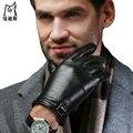 Nueva densign PU guantes de Cuero de los hombres de espesor invierno cálido pantalla táctil simple negocio de los hombres al aire libre de LA PU de cuero de conducción guantes manopla