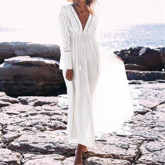 Kaftan Beach Long Dress Swimwear Tunics Beach 2018 White Dress Beachwear Cover ups Robe Crochet Playa
