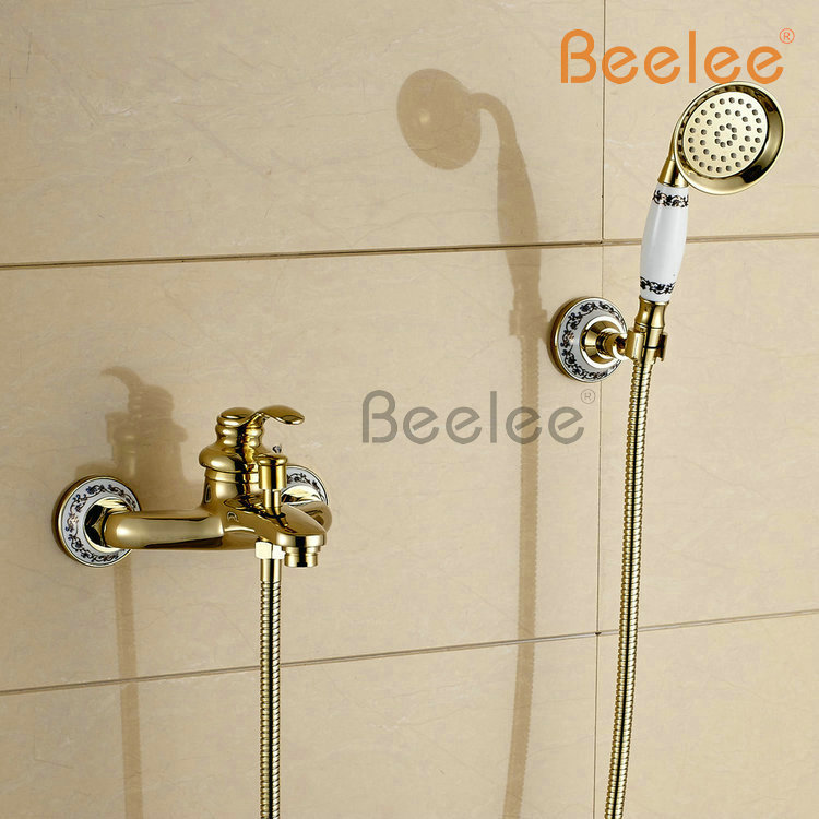 Beelee Bl5201g Wall Mounted Golden Brass Bathroom Bathtub Faucet