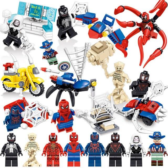 8 pc/lote brinquedo das Crianças blocos de construção Compatível cidade marveleds Superhero Spiderman figuras Bricks DIY presentes de aniversário