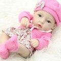 Classic 11 Pulgadas Princesa Muñeca de La Muchacha Hecha A Mano de Vinilo De Silicona Completo renacer Baby Dolls Con Rosa Roja Ropa de Los Cabritos Determinados de Cumpleaños regalo