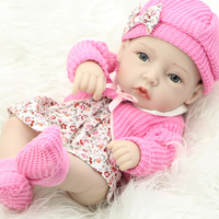 Classic 11 Inch Princess Girl Doll Handmade Full Silicone Vinyl Reborn Baby Dolls With Red Rose