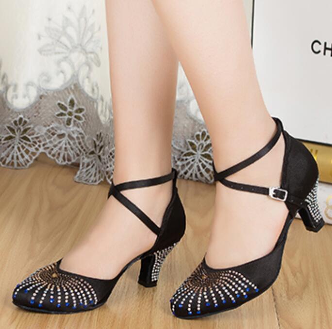 New Rhinestone Black Closed Toe Salsa Tango Ballroom Dance Shoes Latin Dance Shoes Salsa Dancing Shoes Bachata Dance Shoes