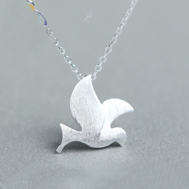 2017 new womens fashion 100 925 sterling silver jewelry peace dove 2017 new womens fashion 100 925 sterling silver jewelry peace dove pendant short necklace cute aloadofball Choice Image
