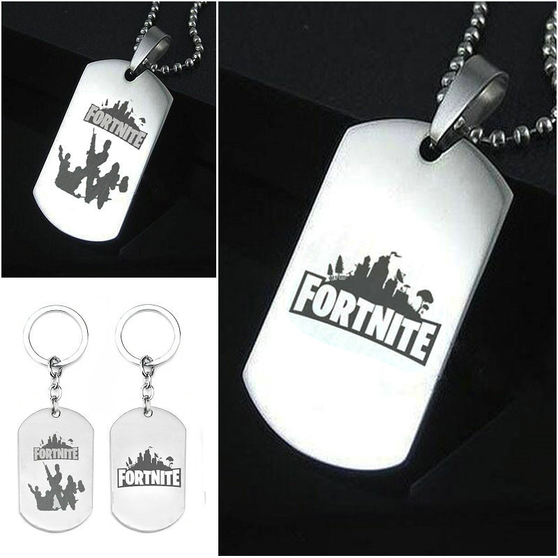 2018 new 10pcs Stainless Steel Pendant Hot&Classic FPS Game Fortnite Logo Necklace Keychain Laser Printing Personalized Jewelry