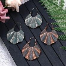 Women Vintage Earrings Metal Irregular Fan-Shaped Bronze Antique Plain Jewelry